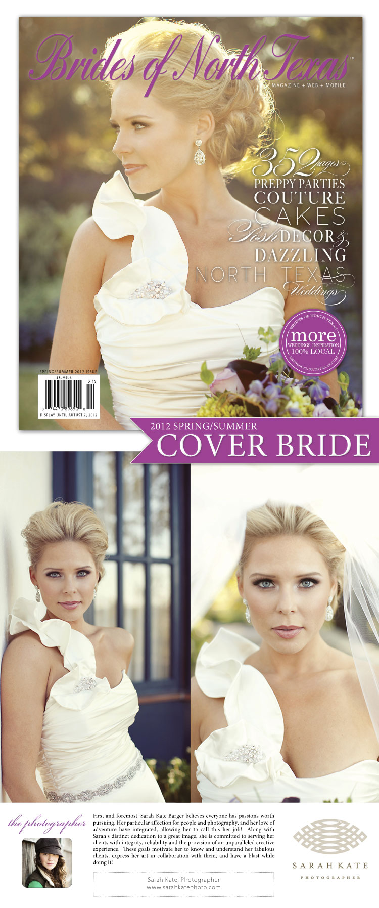Brides of North Texas cover bride captured by Dallas Fort Worth wedding photographer Sarah Kate Photographer