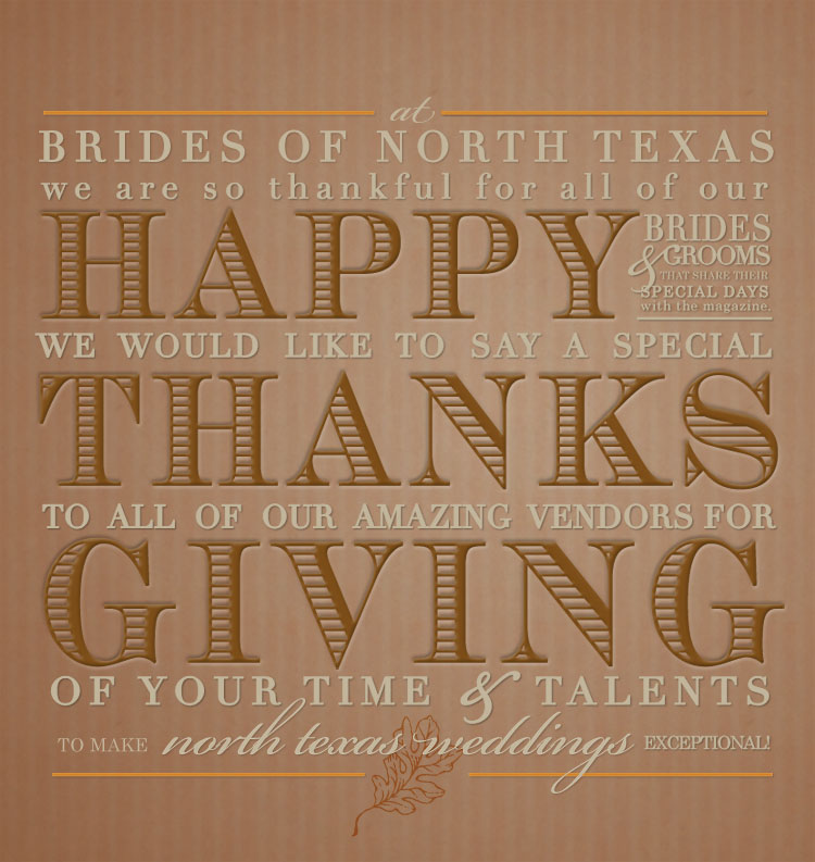 Happy Thanksgiving from Brides of North Texas