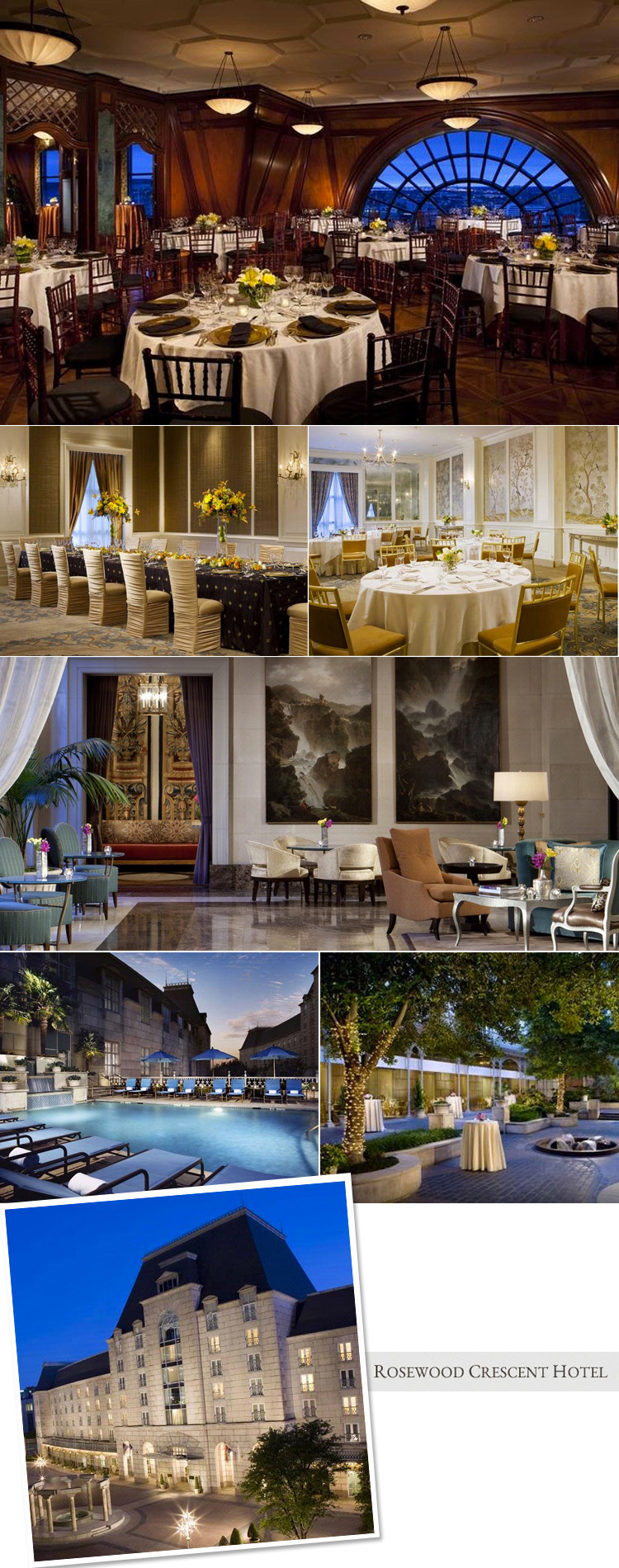 Dallas wedding reception and rehearsal dinner venue the Rosewood Crescent Hotel in Dallas