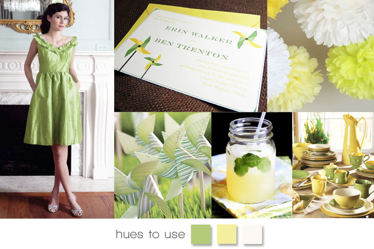 Green and yellow wedding inspiration