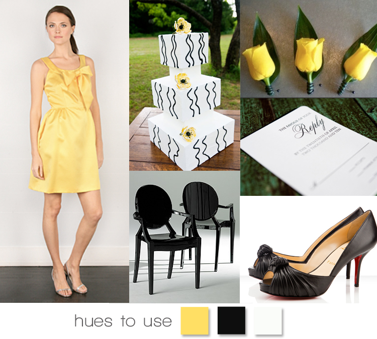 wedding colors - black, white and yellow