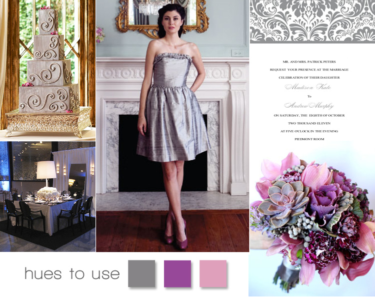 Silver, plum and raspberry wedding colors