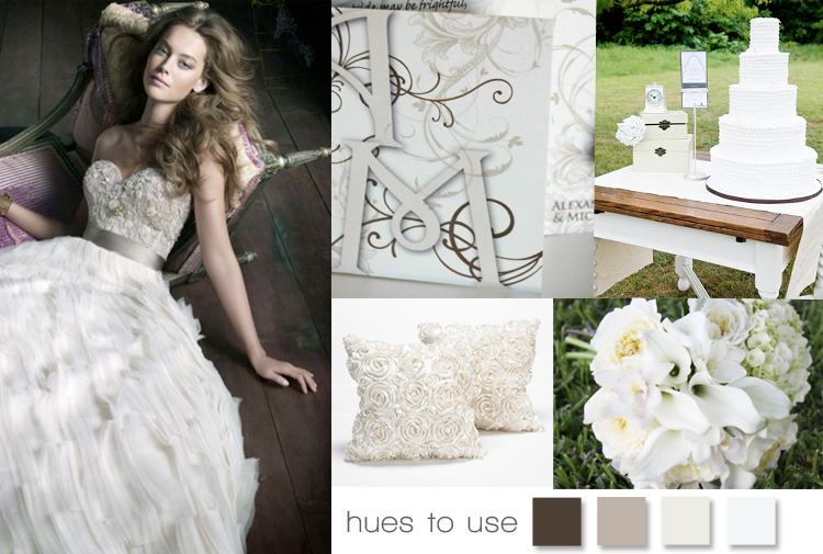 Mocha, taupe, ivory and white wedding inspiration board