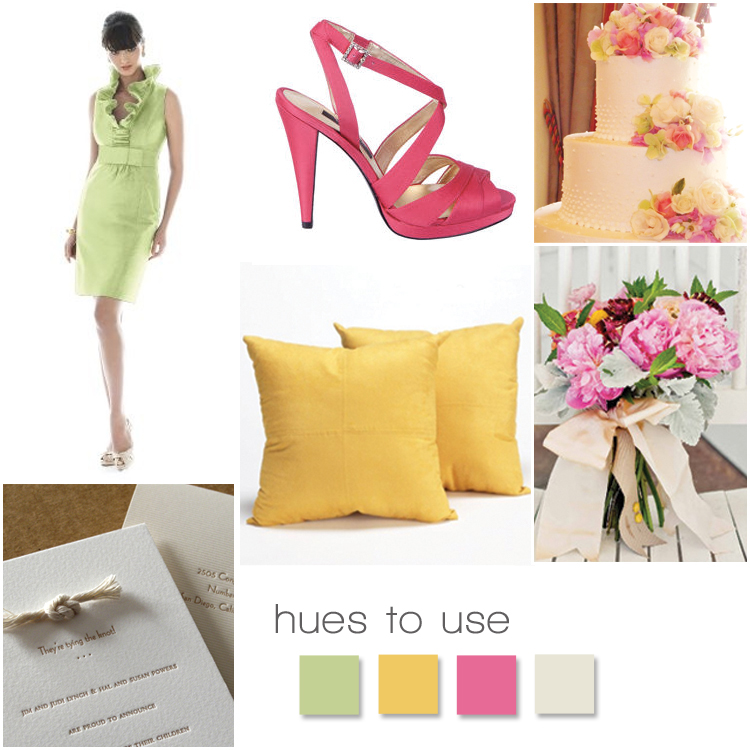 Wedding Inspiration, Green Bridesmaid Dress, Yellow Wedding Pillows, Pink Wedding Shoes