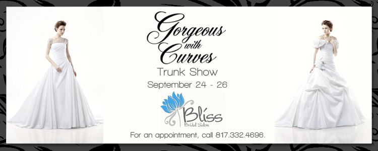Find North Texas wedding and bridal attire-Gorgeous with Curves-at Bliss Bridal Salon in Fort Worth.