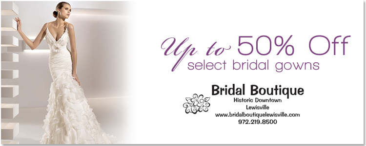 Find wedding gowns at Bridal Boutique in Lewisville and other Texas bridal salons in the Brides of North Texas.