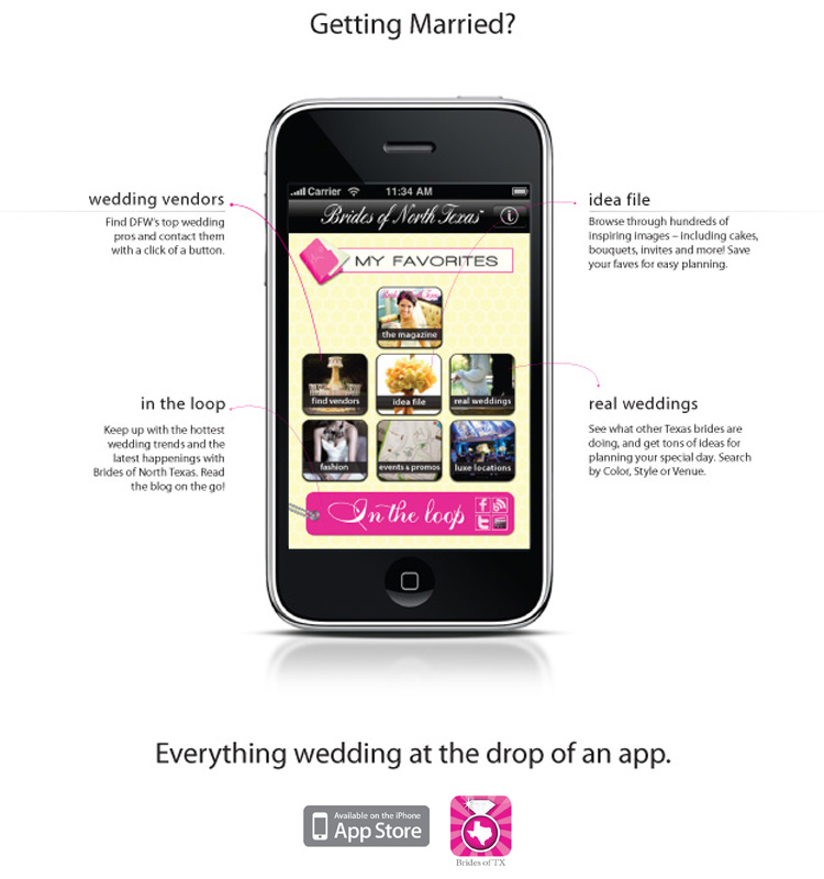 Find North Texas wedding inspiration on the web through the iPhone app.