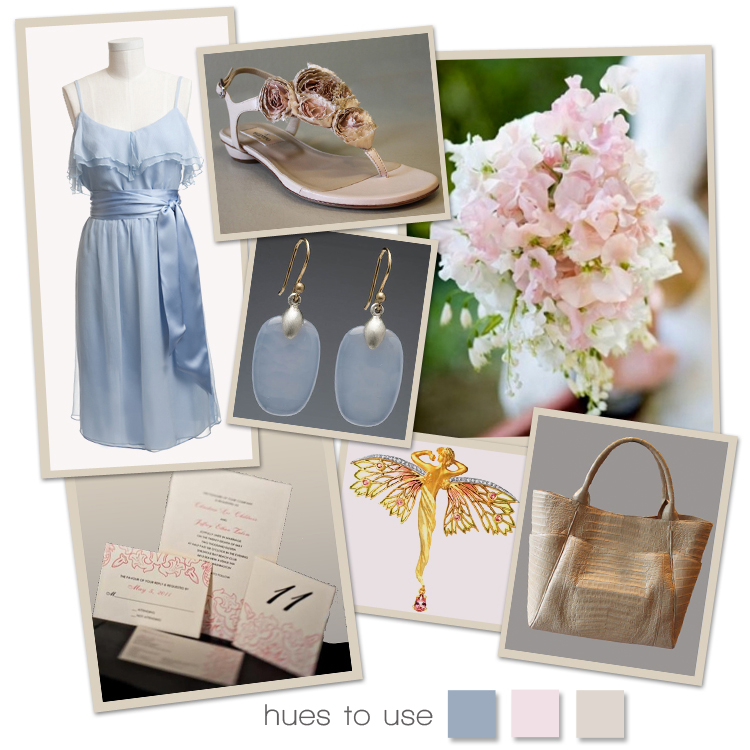 North Texas wedding colors light blue, pink and beige