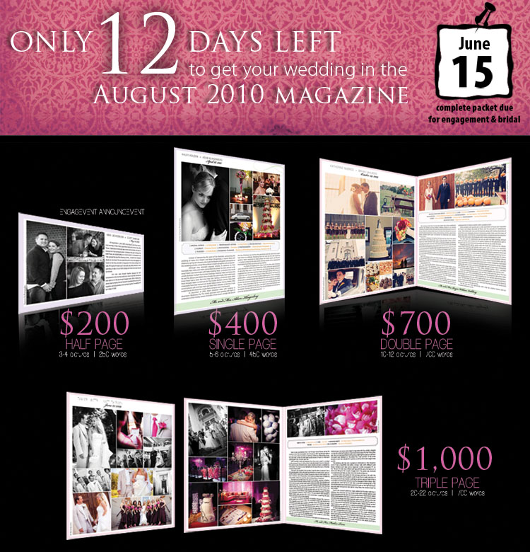 Announce your wedding or engagement in the August issue of Brides of North Texas