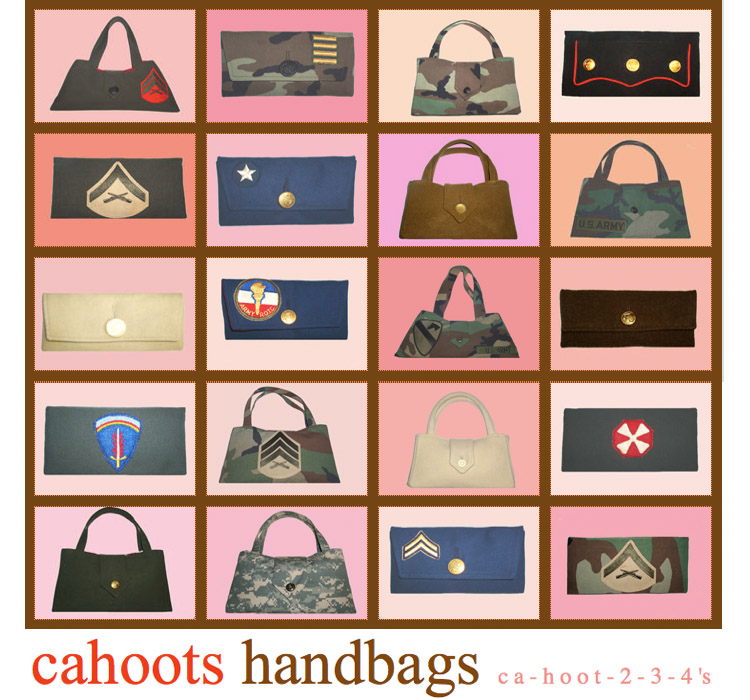 Cahoots Handbags, Military Inspired Custom Clutches