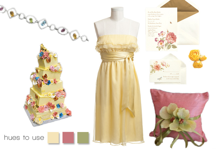 Sunshine wedding inspiration, yellow, green, pink