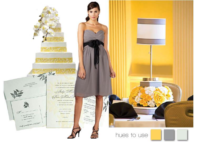 Yellow and grey wedding colors for Texas weddings