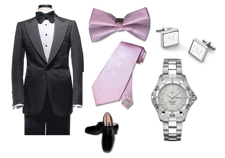 Texas groom's tuxedo, groom's Tag Heuer watch from Bachendorf's, cufflinks