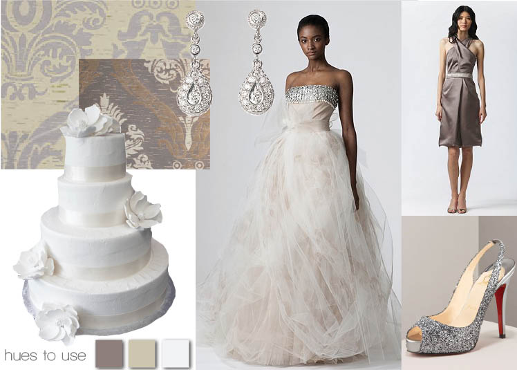Vera Wang 2010 collection inspiration board with cake from Dallas Affaires in Texas