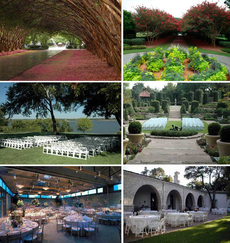The Dallas Arboretum is available for Texas weddings and receptions with many breathtaking gardens to choose from