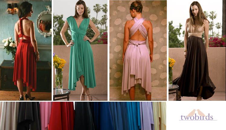 Twobirds bridesmaids dresses available in 10 colors and ten different styles found at Bella Bridesmaid in Dallas, Texas