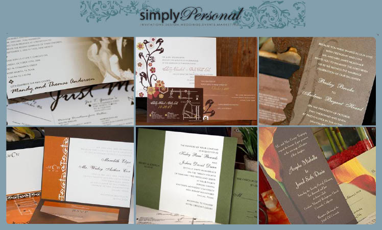 Custom wedding invitations, save the date cards, menu cards, programs and thank you cards available at Simply Personal in Addison, Texas