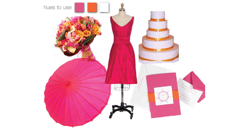 Pink and orange wedding colors and theme for bridesmaids' dresses, cakes, invitations, bouquets and parasols in Texas