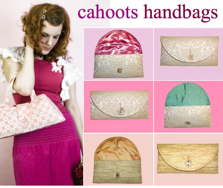 Cahoots provides you with fabulous handbags made of vintage upholstery fabrics and alternative vintage textiles. Because our fabrics are irreplaceable and only allow a couple of bags, its often a buy-it-while-you-can-get-it arrangement. Once something is sold, its kissed gently goodbye.   We believe in high-quality handmade items and in working our fingers to the bone instead of the hands of child workers in Southeast Asian countries.  We provide fabulous vegan handbag alternatives for the animal activists of the world.  We believe that a handbag has the potential to replace the security blanket of your childhood and that making you think of your grandmother's couch, apron, or tablecloth is the nicest gift we could possibly give you.   We believe that the relationship between ourselves and our customers should be as personal as your relationship to your fabulous handbag.  We believe in immediate communication, not putting customers on hold, and maintaining the quality and integrity of our product by handling every aspect of our business ourselves.  Our customers are special and they deserve special bags.
