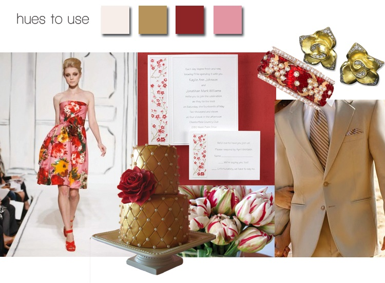 Brides of North Texas Magazine - Sweet Cherry and Glittering Gold color board