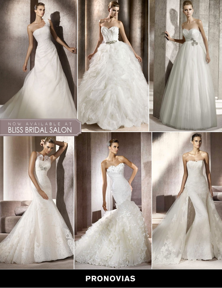 Pronovias wedding gowns at Bliss Bridal Salon in Fort Worth