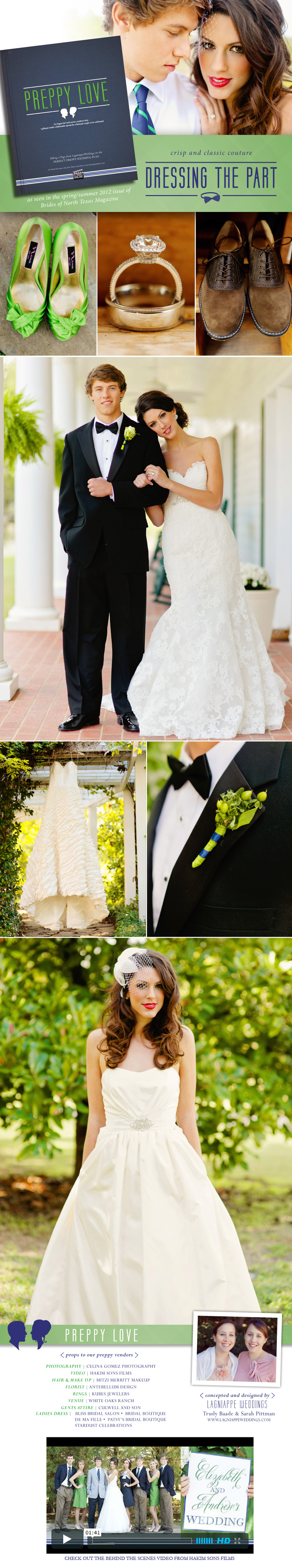 Preppy love Texas wedding gowns and tuxedos