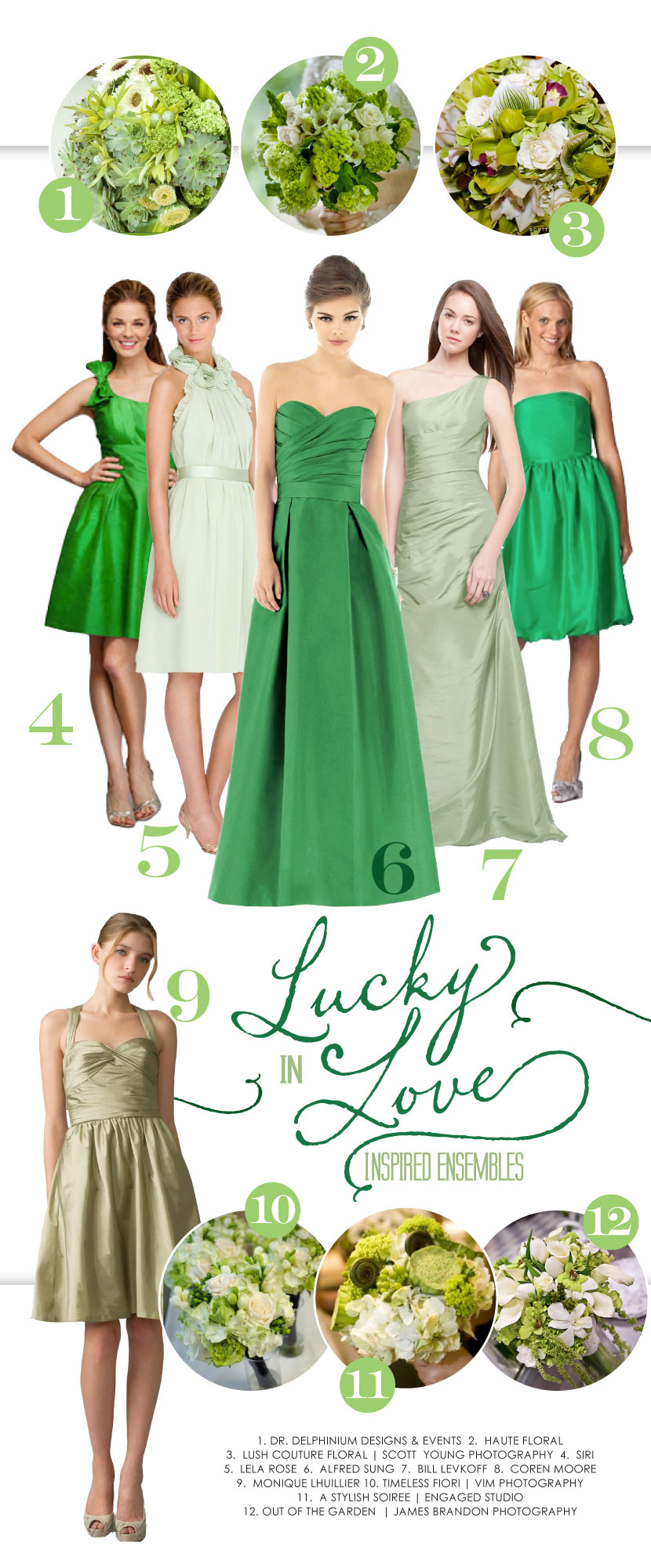 Green Texas bridesmaid dresses and wedding flowers