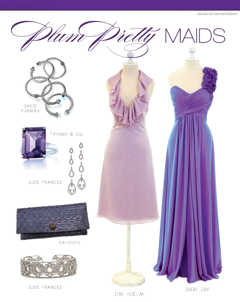 Purple bridesmaid dresses and accessories