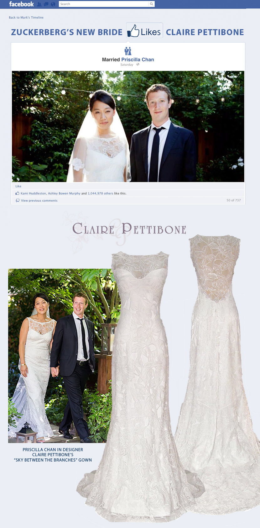 Mark Zuckerberg marries Priscilla Chan Claire Pettibone dress