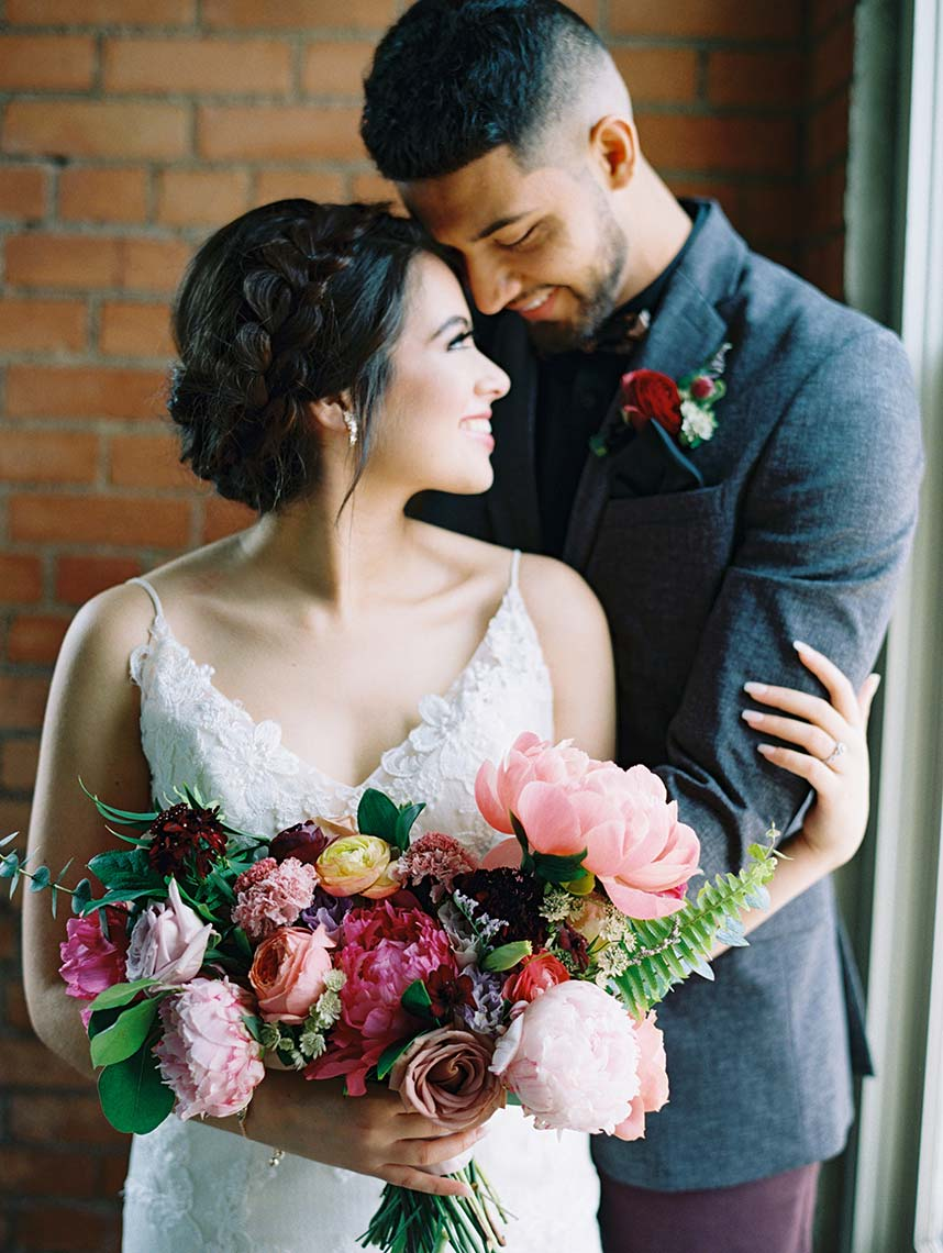 Stephanie Alleva Weds Frankie Cornell Colorful Warehouse Wedding Captured by Stephanie Brazzle Photography