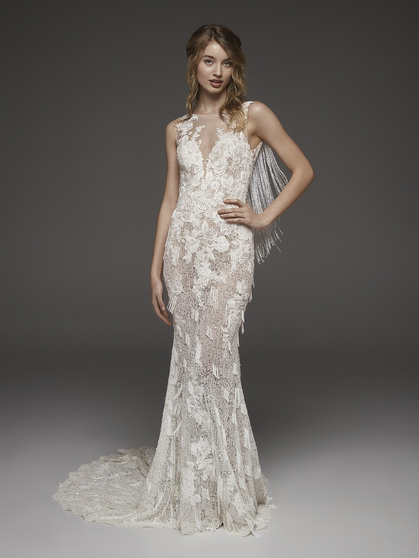 b004ce5bddf pronovias 2019 wedding gown line available at DFW-area bridal boutiques.  Inspired by the beauty of nature and fresh