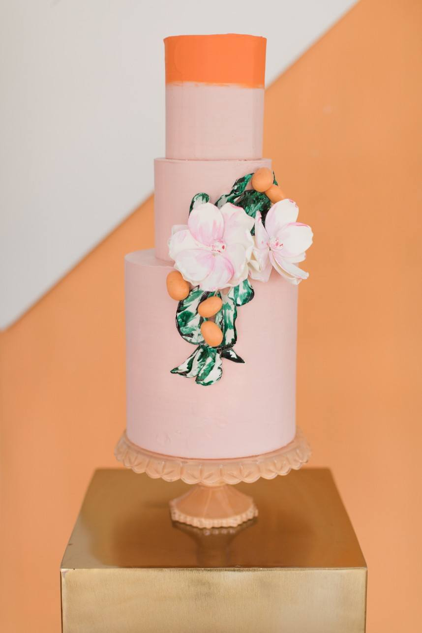 wedding details with springtime colors
