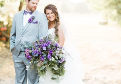 Sara Harris Weds Austen Brewer Pretty Purple Wedding at The Establishment Barn
