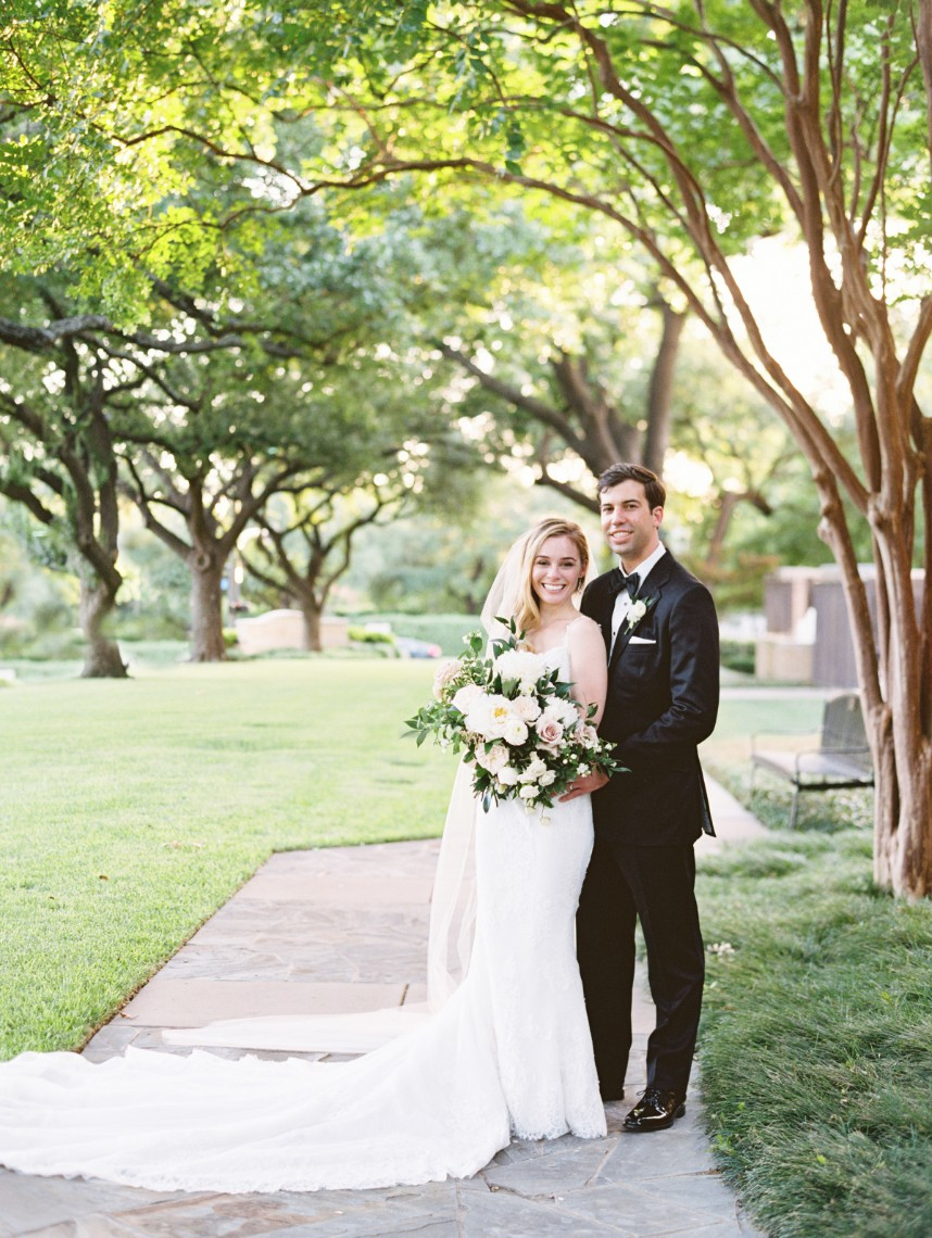 outdoor bride and groom portrait