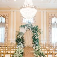 classic floral altar with chandelier