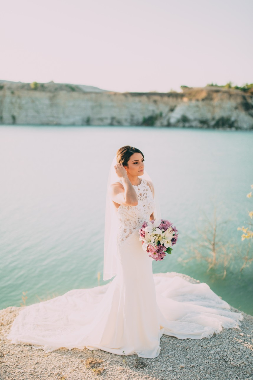 lakeside bridal portrait
