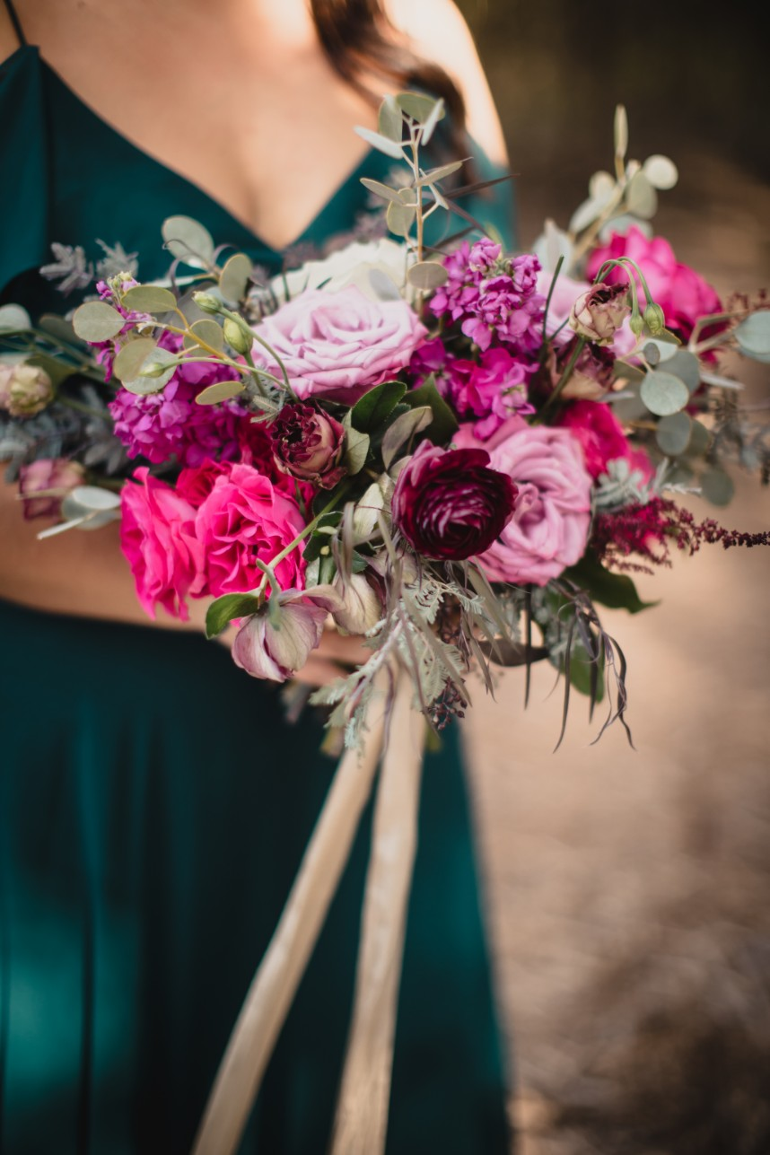 hot pink and purple bouquet