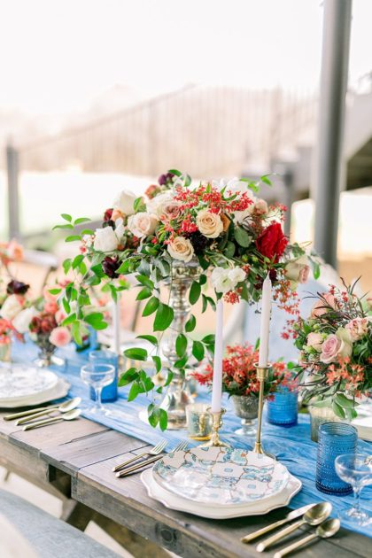 floral and blue table spread