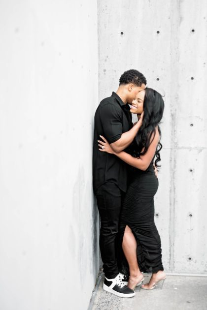 cityscape romance engagement session from pharris photography