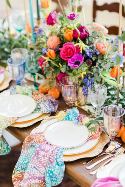 vibrant boho styled shoot featuring nightowl coffee cart