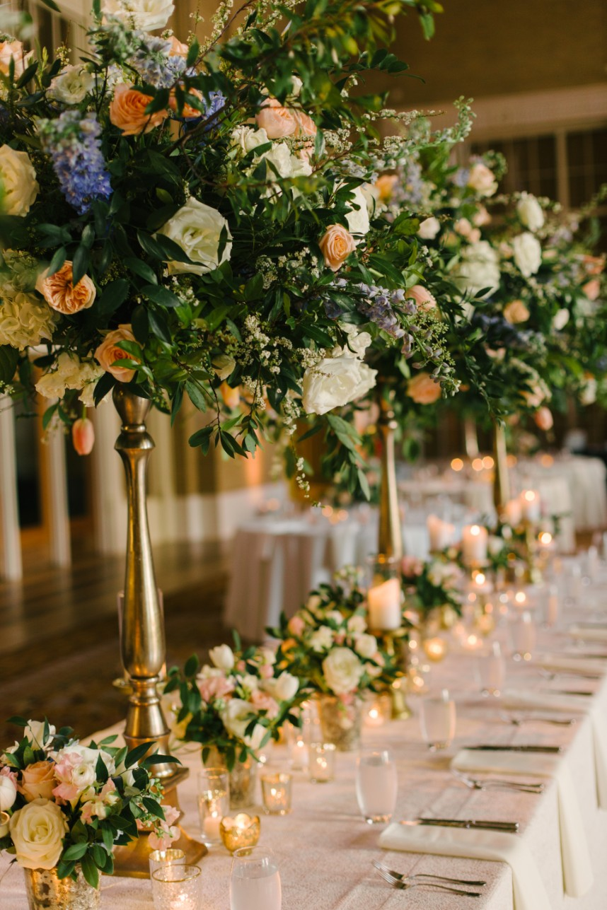 pastel and gold tablescape