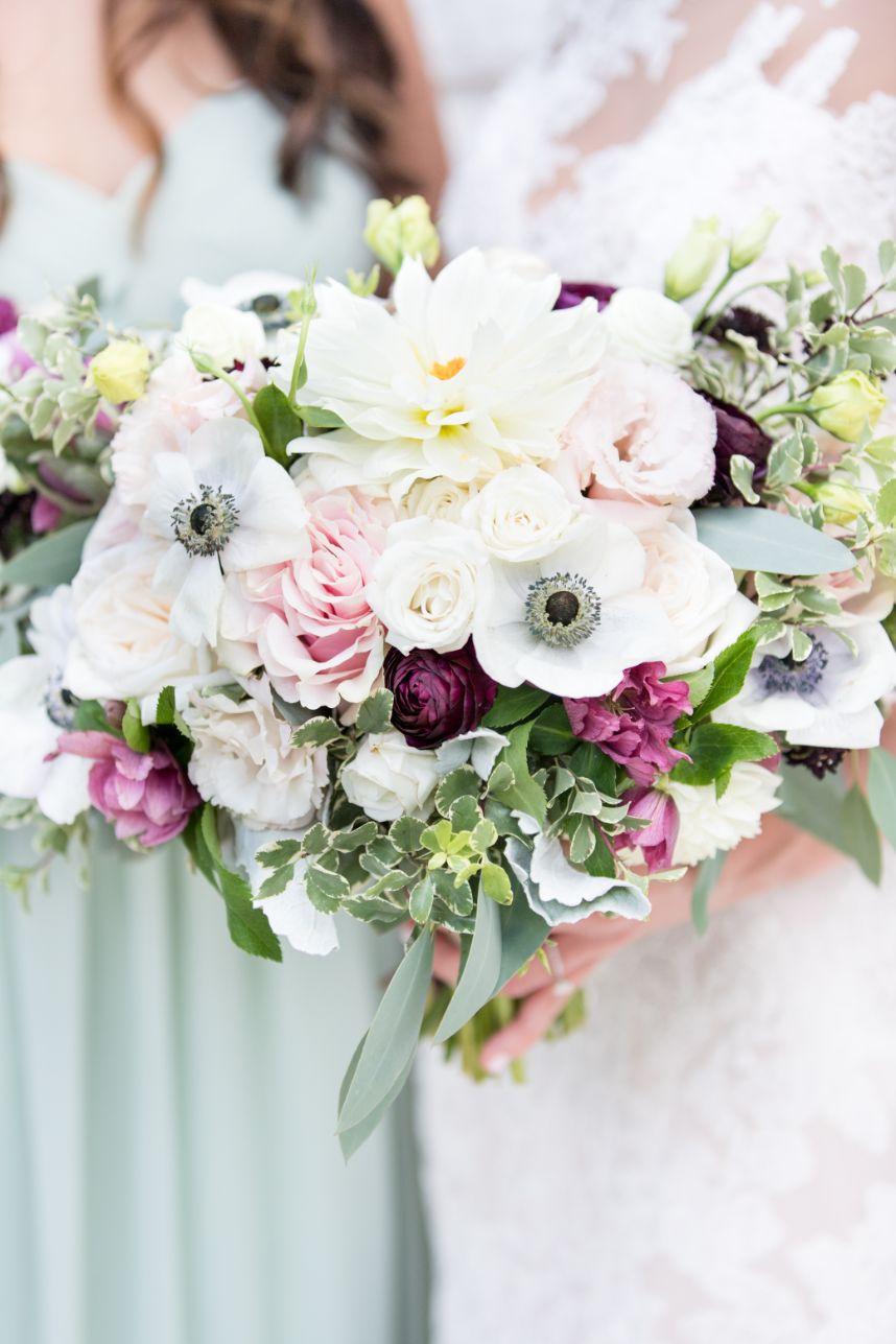 pastel and plum bouquet