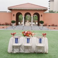 blue and rust outdoor wedding