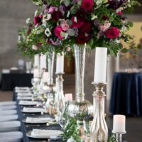 dark pink and purple wedding centerpiece