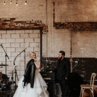 edgy industrial bride and groom portrait