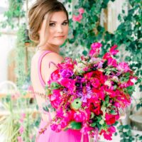 hot pink bridesmaid dress and bouquet