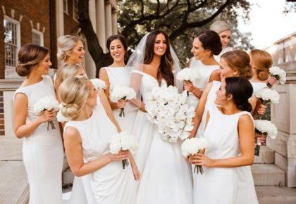 all-white bridesmaid dresses