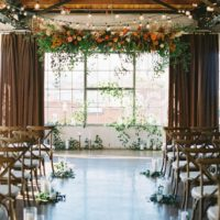 rustic indoor wedding altar