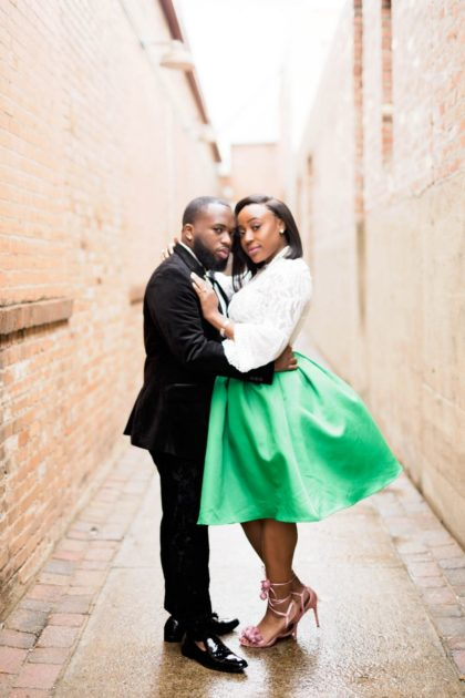 glam emerald green engagement session