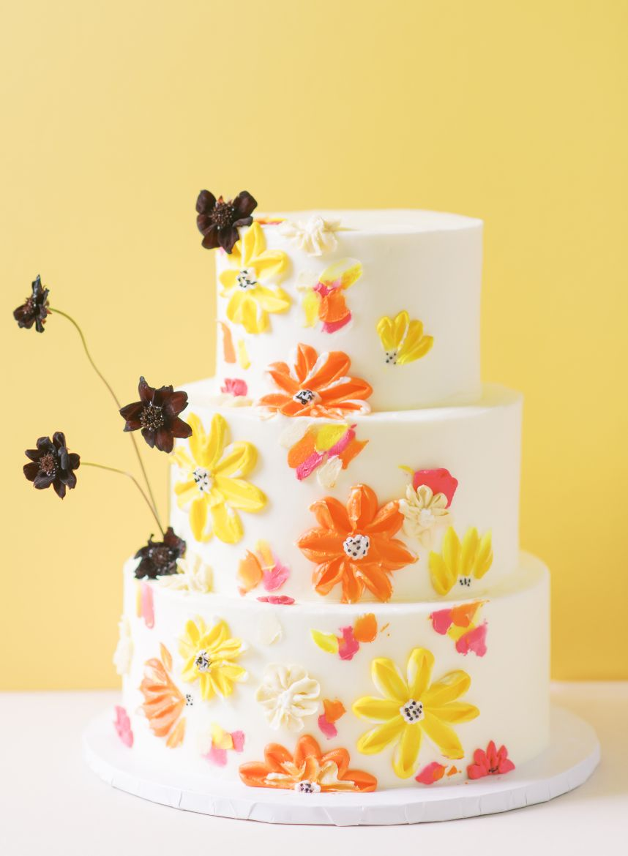tart bakery orange yellow wedding cake
